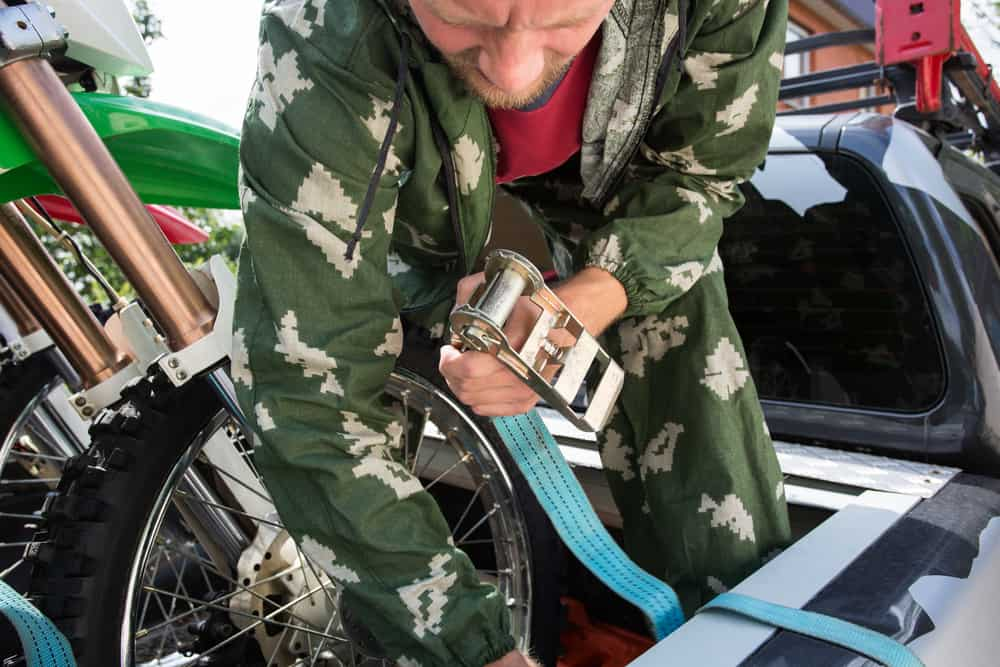 Properly securing a motorcycle for transport